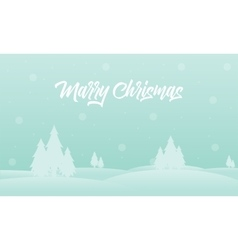 Merry Christmas tree of silhouettes landscape vector