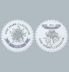 monochrome labes with japanese chrysanthemum vector image