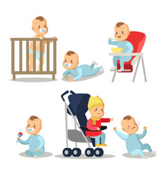 newborn baby boy cartoons set vector image