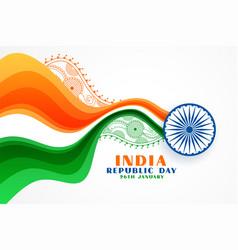Nice indian republic day creative wavy flag vector