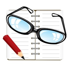 Note pad and pencil vector image