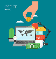 office work flat style design vector image