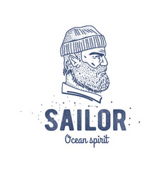 Old sailor logo or label seaman with a beard vector