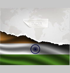 paper with hole and shadows INDIA flag vector image