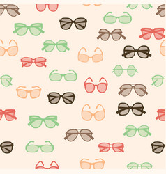 Pattern with colorful fashion retro glasses vector