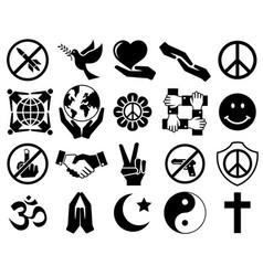 peace symbol icon set vector image