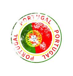 portugal sign vintage grunge imprint with flag on vector image