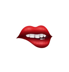 realistic playful sexy lips isolated on white vector image