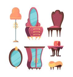 retro room furniture set trendy antique living vector image