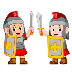 Roman soldier with sword standing up vector