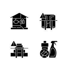Safety precaution at home black glyph icons set vector