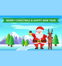 santa claus and reindeer icon vector image