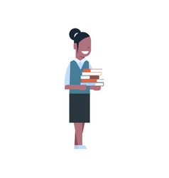School girl african american hold stack of books vector