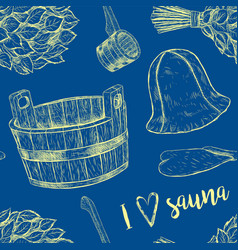 seamless pattern items for sauna hand drawn vector image