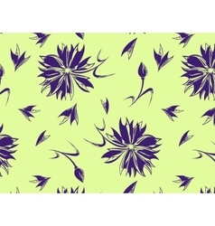 Seamless pattern with a cornflower on a yellow vector