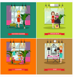 set of cleaning posters banners in flat vector image