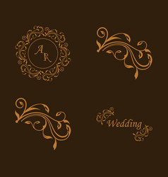 Set of decorative calligraphic elements floral vector