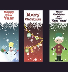 Set of three funny christmas cards vector image