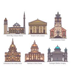 Set religion sanctuary buildings in color vector