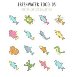 Set retro icons freshwater food vector