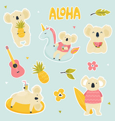 set stickers with cute koalas vector image