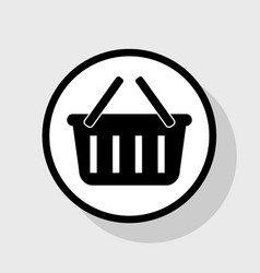 shopping basket sign flat black icon in vector image