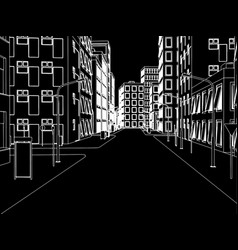 sketch of white street on black backgound vector image