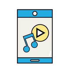 smartphone technology with music sound icon vector image