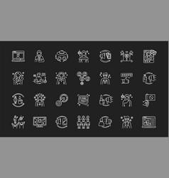 Social media promotion chalk white icons set on vector