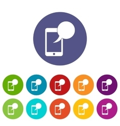 Speech bubble on phone set icons vector image