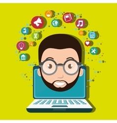 Student laptop idea school vector