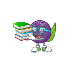 Student with book acai berries character for fresh vector
