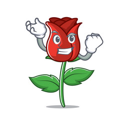 successful red rose character cartoon vector image