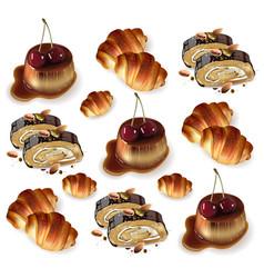 sweet desserts pattern pistachio rolls vector image