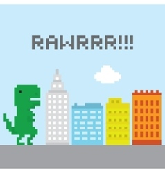 T-rex in the city vector