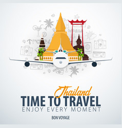thailand time to travel banner with airplane and vector image
