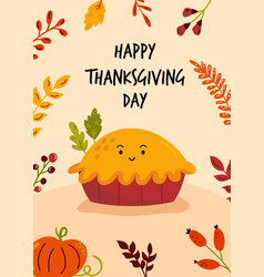 thanksgiving day greeting card with funny yummy vector image
