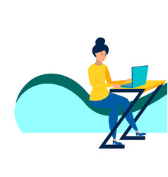the girl at desk working a laptop in vector image