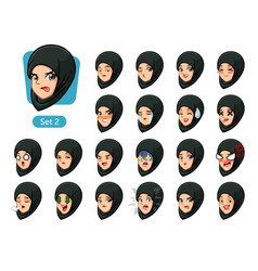 the second set of muslim woman cartoon avatars vector image
