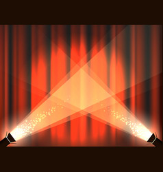 Vintage stage with red curtains and spot lights vector