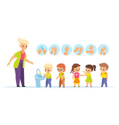washing hands teach children characters with vector image