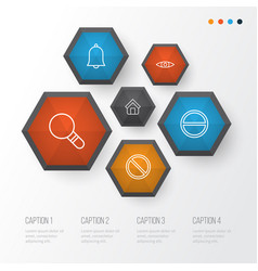 web icons set collection of obstacle bell vector image