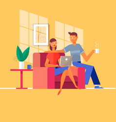 Young couple relaxing on the couch with laptop vector