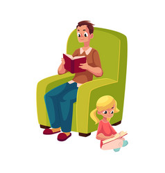 Young man and little girl reading books sitting vector