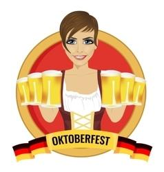 girl holding beer mugs with oktoberfest ribbon vector image