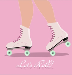Invitation card with roller skates vector image vector image