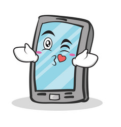 kissing face smartphone cartoon character vector image vector image