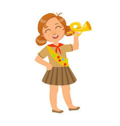 little scout girl dressed in uniform and holding vector image vector image