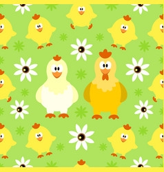 seamless background with funny chicken vector image vector image