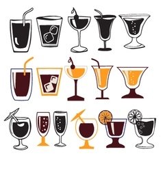 set of different glasses for different drinks vector image